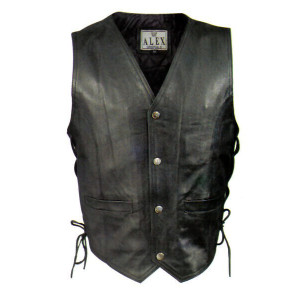 LEATHER VEST WITH LACES