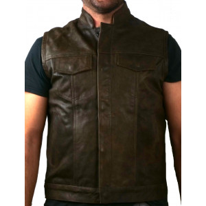 AGED BROWN FUR VEST WITH...