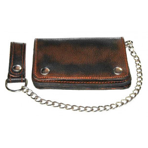 OLD-RAT BROWN CHAIN WALLET