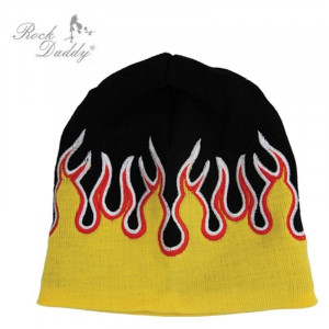 WOOL HAT KNITTED WITH FLAMES