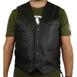 MEN'S LEATHER VEST WITH...