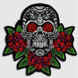 PARCHE MEXICAN SKULL ROSES...