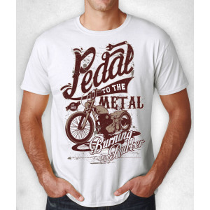 """WHITE T-SHIRT """"PEDAL TO THE..."""