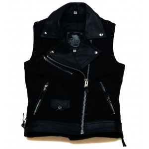 WOMEN'S VEST DENIM AND LEATHER