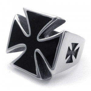 IRON CROSS RING SURGICAL STEEL