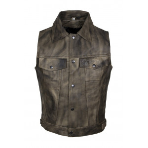 OLD BROWN LEATHER VEST WITH...