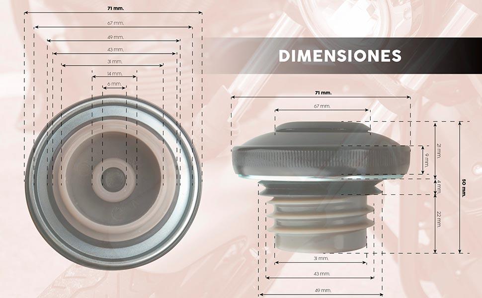 Dimensiones aproximadas del tapón para depósito de moto custom