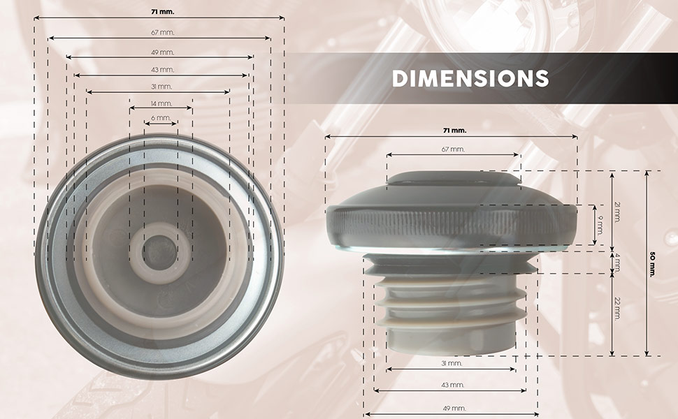 Approximate dimensions of the tank cap for custom motorbikes