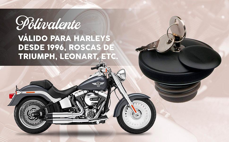 Tapón de depósito válido para motos custom tipo Harley Davidson, Triumph, Leonart