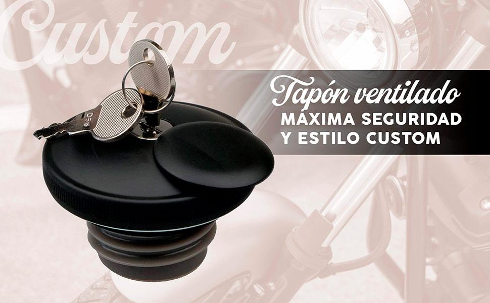 Tapón ventilado para depósito de moto custom con llave de seguridad.