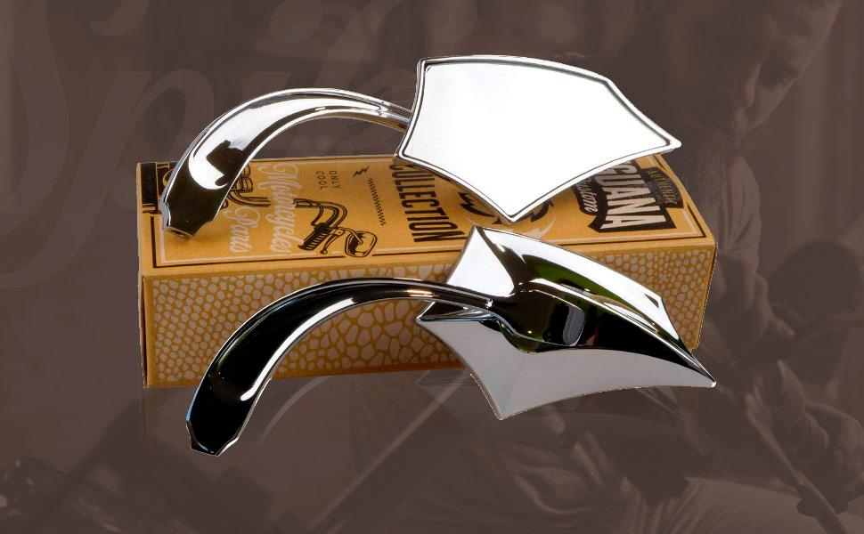 Um par de espelhos é fornecido embalado nas suas próprias embalagens.