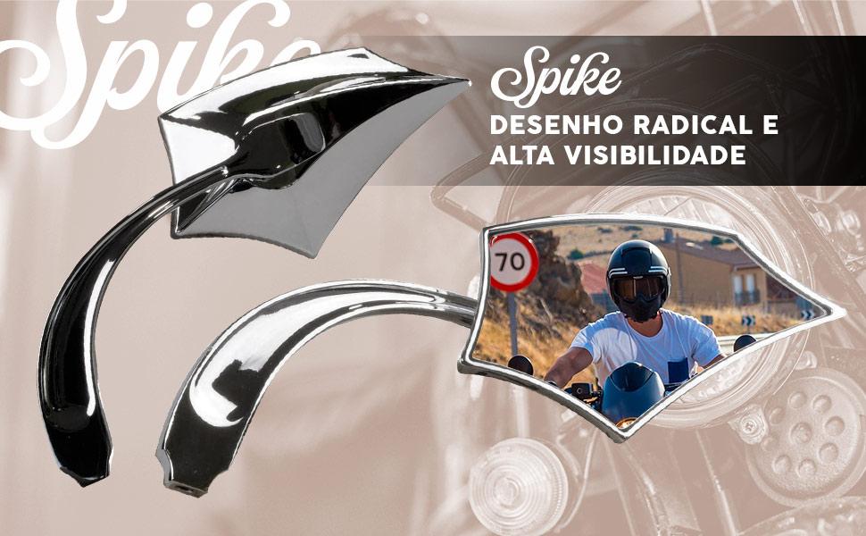 Espelhos cromados radicais para motociclos custom.