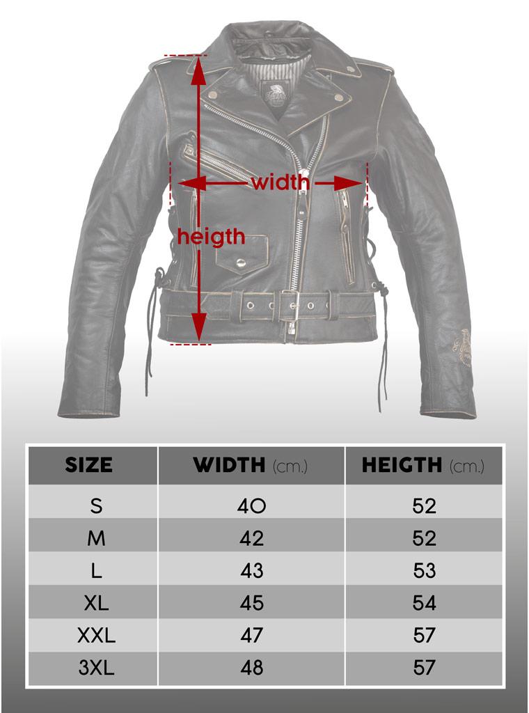 Guía de tallas para chaqueta motera femenina de cuero.